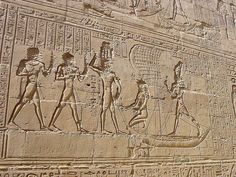 Reliefs on the walls of the Temple of Edfu