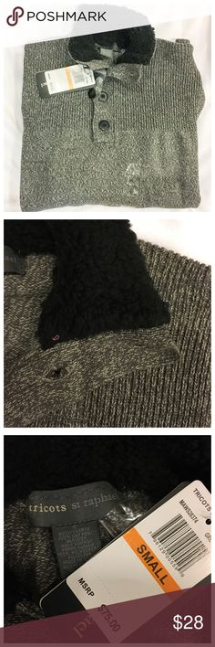 NWT tricots st raphael Great sweater.  Four button quarter neck closure fleece lined neck. Super look and feel.  100 % Cotton. Size: S NWT tricots st raphael Sweaters