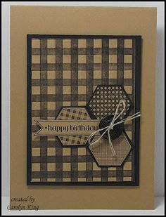 Stampin' Up! ... hand crafted card from King's on Paddington ... monochromatic kraft ... hand stamped gingham patter ... hexagons ... great card!