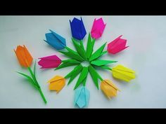 Easy tulip flower making / How to make easy and simple tulip flower/ Paper flowers by KovaiCraft Folded Paper Flowers, Paper Flower Wreaths, How To Make Paper Flowers, Paper Flowers Craft, Paper Crafts For Kids, Paper Roses, Flower Paper, Flower Making Crafts, Flower Crafts