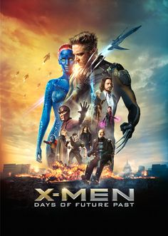 X-Men: Days of Future Past ~ The ultimate X-Men ensemble fights a war for the survival of the species across two time periods. ~ Starring: Hugh Jackman, Jennifer Lawrence, Michael Fassbender, James McAvoy and Ian McKellen Movies 2014, Man Movies, Movies To Watch, Popular Movies, Latest Movies, Michael Fassbender, Ian Mckellen, Days Of Future Past, James Mcavoy