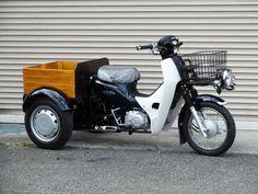 Honda Super Cub als Trike Honda Cub, Trike Motorcycle, Motorcycle Design, Motorized Trike, Moto Car, Honda Bikes, Motor Scooters, Cool Motorcycles, Mini Bike