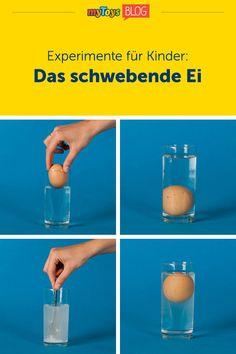 """Lernen macht Spaß! Heute stellen wir euch unser Kinderexperimente """"Das schwebende Ei"""" vor. Mit kleinen Experimenten könnt ihr euren Kindern chemische Reaktionen und die Geheimnisse der Natur näher bringen. Mit diesem coolen Experiment mit Ei könnt ihr Euren Kindern spielerisch den Begriff des Auftriebs näher bringen. Es handelt sich dabei um ein einfaches, cooles Kinderexperiment für zu Hause, alles was ihr benötigt sind ein Ei, Glas, etwas Salz und Wasser! #experimentkinder…"""