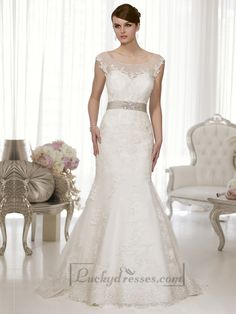 Cap Sleeves Fit and Flare Illusion Boat Neckline & Back Wedding Dress Sale On LuckyDresses.com With Top Quality And Discount