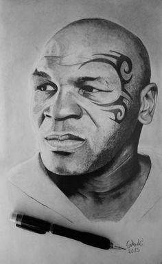 Pencil Portrait, Portrait Art, Portraits, Mike Tyson Tattoo, Mike Tyson Fights, Wild Animals Photography, Lil Girl Hairstyles, Black Comics, Famous Art