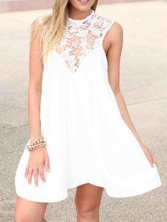 White Lace Panel Cut Out Back Sleeveless Dress