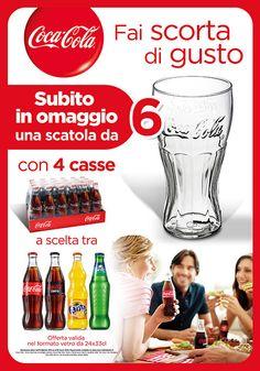 Bicchieri gratis grazie al premio certo Coca Cola da Cash & Carry: acquista Coca Cola e ricevi 6 bicchieri di vetro Contour Coca-Cola gratis