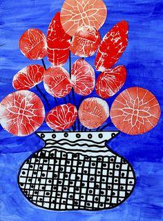 Flower Collage, Collage Art, Flower Art, Foam Crafts, Craft Foam, Hand Crafts, Art Lessons For Kids, Art For Kids, 4th Grade Art