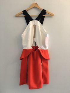 NEW Three Floor Hot Shot Dress Mini Cut Out Sheer Zip Peplum @ Harvey Nicks ASOS