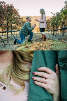 She thought they were just taking cute photos in the vineyard, when he suddenly kneeled to propose. <3