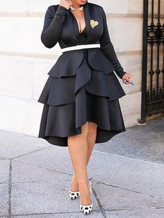 Silhouette: Asymmetrical Dress Length: Mid-Calf Sleeve Length: Long Sleeve Neckline: V-Neck Combination Type: Single Waist. Latest African Fashion Dresses, African Print Fashion, Women's Fashion Dresses, Skirt Fashion, Dress Outfits, Style Fashion, Fashion Women, Elegant Dresses, Casual Dresses