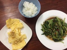 Healthy lunch with garlic chilly soy greens