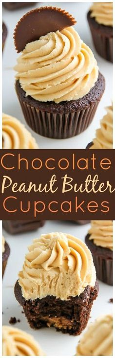 Rich chocolate cupcakes, creamy peanut butter cups, and silky smooth peanut butt. - Rich chocolate cupcakes, creamy peanut butter cups, and silky smooth peanut butter frosting. Chocolate Peanut Butter Cupcakes, Peanut Butter Frosting, Peanut Butter Recipes, Creamy Peanut Butter, Butter Icing, Cupcake Recipes, Baking Recipes, Dessert Recipes, Cupcake Ideas
