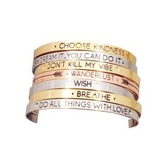 Gold, silver and bronze inspiring bangles! These are a great additional to any accessory box. The words are uplifting and will keep you feeling positive all day | Fashionable accessories for women