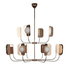 This striking twelve-light chandelier in two tiers has a delicate structure in hand-forged iron with a polished copper finish and was designed by Matteo Zorzenoni. Its timeless look makes this piece versatile and adaptable to a classic decor and a modern style.