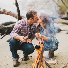campfire engagement photos