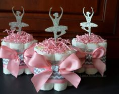 Pink Ballerina/ Ballerina diaper cake/ It's a girl/ Baby Shower centerpieces/ Little Ballerina/ Chevron/ Pink/ Silver/ Glitz/ Mommy to be