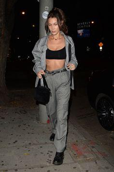 198c108e12124 Bella Hadid Jesse Jo Stark Concert August 2018 Bella Hadid wearing Chanel  Square Logo Velvet Top Handle and Brashy Studios Grey Cargo Pocket Pants