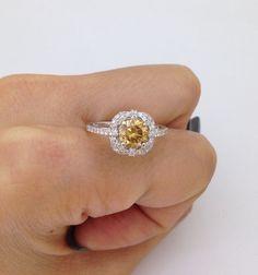 Yellow Moissanite Diamond Halo Ring - 14K White Gold