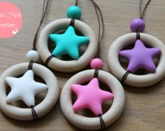 MARS - Wooden teething ring and silicone bead, baby-friendly nursing necklace. Available in 4 colours.