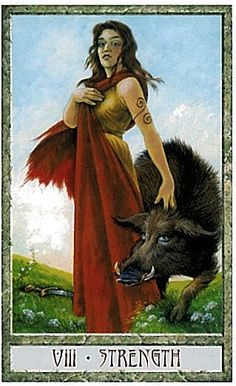 VIII. Strength - Druidcraft Tarot by Stephanie and Philip Carr-Gomm, Will Worthington