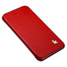 awesome iPhone 7 Case, Jisoncase Handmade Genuine Leather iPhone 7 Case Ultra Thin Book Folio Style Slim Fit Skin Magnetic Protective Front Folder Cover for Apple iPhone 7 Smartphone 4.7-inch Screen Red JS-IP7-06K30