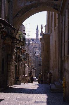 Street scene in the old city of Jerusalem.