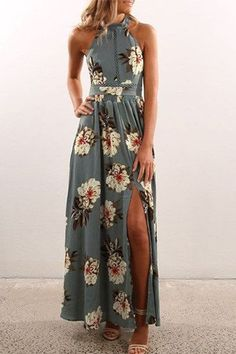 This vacation style dress iis surely one that you'll love wearing over and over. It's easy-to-style, making it perfect for summer. This maxi dress with halter design and random floral print pattern. - Sexy style - Sleeveless - Floal print - Splited hem - Maxi length
