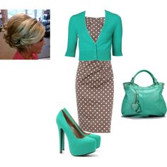 Aqua and Polka-Dots, created by snickersmama on Polyvore