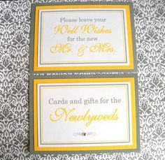 5x7 Flat Wedding Sign Package in Gray and Yellow by WeddingsBySusan, www.weddingsbysusan.etsy.com