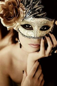 Mask idea: gold with flower