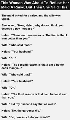 This Woman Was About To Refuse Her Maid A Raise, But Then She Said This. #LOL #Funny #SmartWoman #MaidJokes