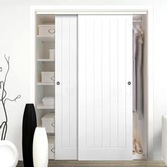 Two Sliding Wardrobe Doors & Frame Kit - Textured Vertical 5 Panel Door - White Primed Sliding Cabinet Doors, Sliding Door Design, Sliding Wardrobe Doors, Closet Doors, Entry Doors, Hallway Cupboards, Bedroom Cupboards, Bedroom Cupboard Doors, Bedroom Built In Wardrobe