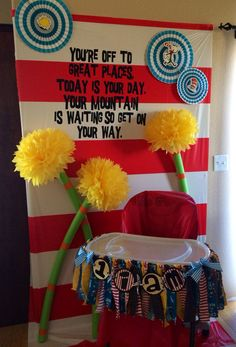 """For backdrop of chair""""CAKE SMASH BACKDROP"""" Dr. Seuss rhyme-time party decorating ideas {fans, vinyl quote, truffula trees, and fabric & scrapbook paper high chair banners} Dr Seuss Party Ideas, Dr Seuss Birthday Party, First Birthday Parties, Birthday Party Themes, Birthday Ideas, Ideas Party, Birthday Backdrop, Twin First Birthday, Baby Birthday"""
