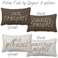 Stock Design  Bedroom Pillows Sex Tonight Another Night TWO 13X21 Pillows lumbar. $138.00, via Etsy.