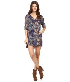 Roxy Lucky Blue Dress (Bohemian Behavior/Blue Print) Women's Dress
