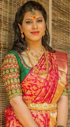 For customising your outfits - whatsapp 9133502232 Wedding Saree Blouse Designs, Pattu Saree Blouse Designs, Half Saree Designs, Designer Blouse Patterns, Fancy Blouse Designs, Saree Models, Maggam Work Designs, Bollywood, Clothes For Women
