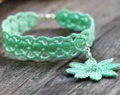 Check out our crochet bracelet selection for the very best in unique or custom, handmade pieces from our beaded bracelets shops. Crochet Bracelet Pattern, Crochet Beaded Bracelets, Lace Bracelet, Crochet Necklace, Flower Bracelet, Wrap Bracelets, Love Crochet, Crochet Gifts, Crochet Flowers