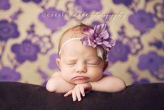 Skinny elastic purple flower headband for by patriciamueller...gotta learn how to make