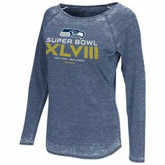 Touch by Alyssa Milano Seattle Seahawks 2013 NFC Champions Ladies Second Season Boat Neck Long Sleeve T-Shirt - College Navy