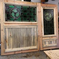 Coop Doors are complete Sand, Stain and Hang. Thanks Dad for saving the glass from the old Steak and Ale in Bloomington #brandreserveinc #firsttimedoingthis #thechickenstripclub #steakandale  #stainglass