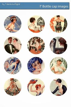 Free Bottle Cap Images: La Vie Parisienne free bottle cap images download - sexy retro French ladies