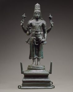 Vishnu the Preserver is most often portrayed holding the militant attributes that symbolize his protective role: in his upper right hand, a chakra (war discus), and in his upper left, a shankha (conch battle trumpet). Standing Vishnu  Period:Chola period (880–1279) Date:ca. third quarter of the 10th century Culture:India (Tamil Nadu) Medium:Copper alloy