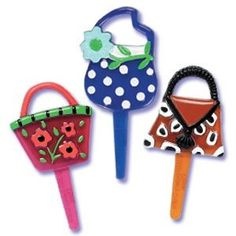 Plastic Couture Handbag Purse Cupcake Picks Cake Toppers - 24 ct * Insider's special review that you can't miss. Read more :  : baking decorations