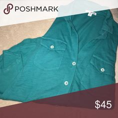 3/4 sleeve shirt Beautiful deep dark turquoisey blue. Typical great quality that comes with James Perse shirts. Excellent condition. James Perse Tops Button Down Shirts
