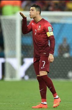 Cristiano Ronaldo blowing a kiss in Portugal vs U.S.A World Cup 2014