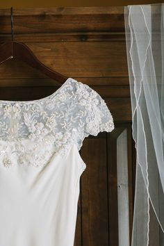 perfect lace detail on this simple and elegant #BHLDN wedding gown