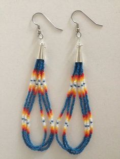 Handmade Native American Beaded Earrings by PeacefulBeadwork Beaded Earrings Native, Beaded Earrings Patterns, Beading Patterns, Beading Tutorials, Bracelet Patterns, Seed Bead Jewelry, Seed Bead Earrings, Diy Earrings, Earrings Handmade