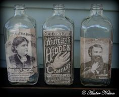 set Primitive antique glass apothecary jars syrup snake oil tonic fever dye whisker hair thick square steampunk medicine bottles old