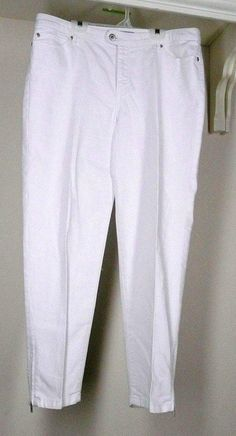 Chico's Platinum Denim Slim-Leg Ankle Jeans Sz 2 12 White Cotton Spandex #Chicos #SlimSkinnyStraightLeg